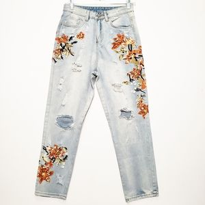 Zaful distressed high rise embroidered mom jeans
